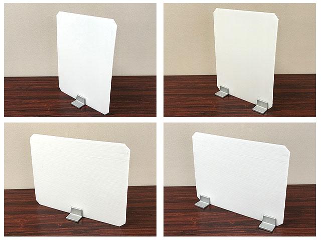 飛沫防止パネル固定金具「フリーパネル・ベース」使用例1:一か所固定でも使用可能